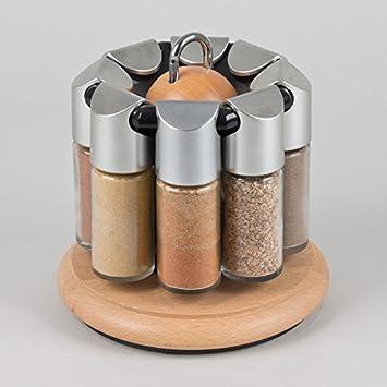 Acier Inoxydable 16 Verre Pots à épices rotatif rack stand avec couvercle embrasser