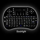 Teclado inalámbrico Rii i8 KODI XBMC con superficie táctil, iluminación LED y batería recargable.