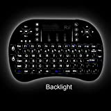 2015 Rii i8+ 2.4GHz Mini Wireless KODI XBMC Keyboard with Touchpad Mouse ,LED Backlit, Rechargable Li-ion Battery, Soft Silicone button ,Raspberry Pi 2, MacOS,Linux, HTPC, IPTV, Google Android TV Box ,Windows XP Vista 7 8 10