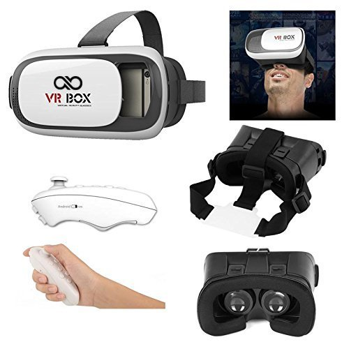 Advent Basics™ 2nd Generation VR BOX Virtual Reality Glasses With Black Bluetooth Controller. 2016 3D VR Headsets for 4.7~6 Inch Screen Phones iphone 4S, iphone 5s, IPhone 6 / 6 S , Samsung LG Sony HTC, Nexus 6