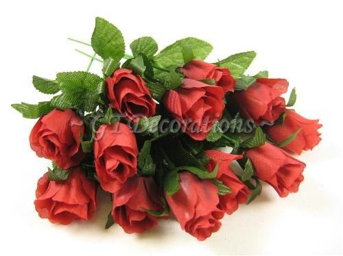 12 Artificial Silk Flower Rose Bud Stems (Dark Red) from GT Decorations