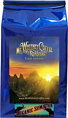 Mt. Whitney Coffee Roasters: 5 Lb. USDA Certified Organic, Shade Grown Gayo Mountian Sumatra, Single Origin, Dark Roast, Whole Bean Coffee from Mt. Whitney Coffee Roasters