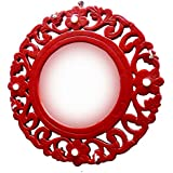 Red Wooden Carved Wall Mirror