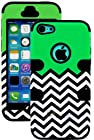 myLife Black and Green - Flat Color and Chevron Series (3 Piece Protective) Hard and Soft Case for the iPhone 4/4S (4G) 4th Generation Touch Phone (Fitted Front and Back Solid Cover Case + Internal Silicone Gel Rubberized Tough Armor Skin)