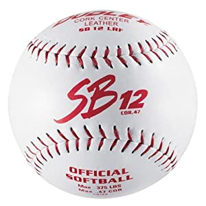 Dudley SB12L 12 Slow Pitch Soft Ball - Red Stiching - Dozen by Dudley