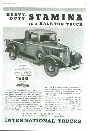 Heavy-Duty Stamina in a Half-Ton Truck International Pickup ad 1936