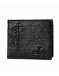 Calvino Classy Embossed Textured Black Men's Wallet (brown)