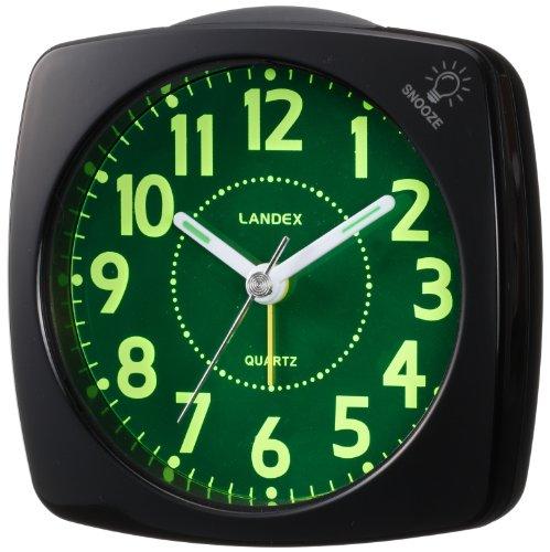 LANDEX 目覚まし時計 ポール・スタァLC アナログ表示 白色LEDライト付き ブラック YT5220BK