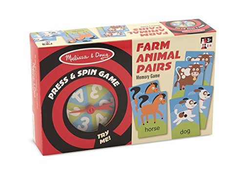Melissa & Doug Press and Spin Game: Farm Animal Pairs - 1