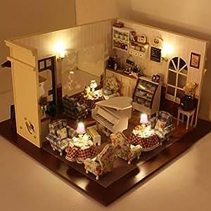 Rylai Wood Dollhouse Miniature Diy Kit W
