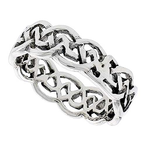 Sterling Silver Celtic Knot Flat Wedding Band Thumb Ring 1/4 Inch Wide, Size 11