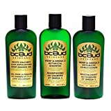 BC Bud Hemp Shampoo and Conditioner Set + Exfoliating Body Wash, Sulfate Free Hemp Bath Set for Oily Hair, Itchy Scalp, Thinning Hair, Natural Volume and Soft Skin