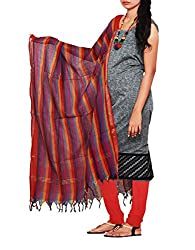 Unnatisilks Women Unstitched grey-red pure Andhra khadi cotton salwar kameez dress material