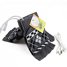 USB Warm Gloves Oenbopo Unisex PC Laptop USB Heated Half & Full Finger Winter Warm Hand Gloves Warmer Wool for Women Men (Grey)
