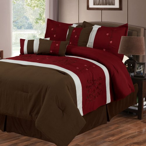 Lavish Home Sarah 7-Piece Embroidered Comforter Set, Queen front-1067698