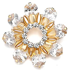 Pugster 22K Golden Plated Shinning Flower Topaz Yellow And Clear Swarovski Crystal Diamond Accent Brooches And Pins