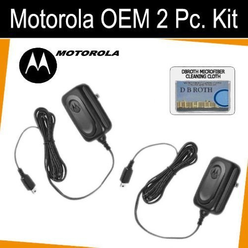 Set of 2 Original OEM Travel Chargers for your Motorola EM1000 series 2-way radios + DBRoth Cloth