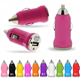 Hot Pink In-Car Travel Mini Micro Bullet Shaped Compact Travel USB Charger Plug Adapter For Apple iPhone iPad Mini 8GB 16GB 32GB