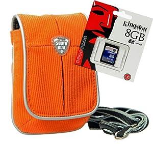 Fototasche, Kameratasche Modell OUTDOOR TRAVELLER, Cord orange, im Set mit 8 GB SDHC Karte für Fujifilm FinePix XP60, XP170, XP100, XP50, JX500, JX700, JZ100, Z1000, Z950, Z900, JX370, XP30, Z90, T200, JX300, JX400, T300, T500, XF1
