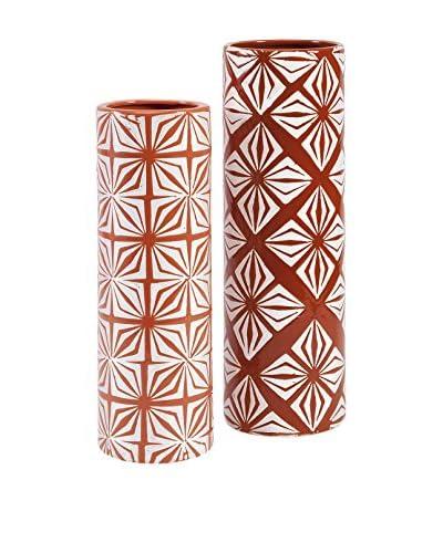 Savion Set Of 2 Ceramic Vases, Orange/Red