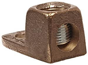 "Burndy KA28 KA-LUG Terminal, 1 Str. - 4/0 Str. Conductor, 15/16"" Width, 1-15/16"" Length, 1-1/4"" Height, 275 lbs Recommended Tightening Torque"
