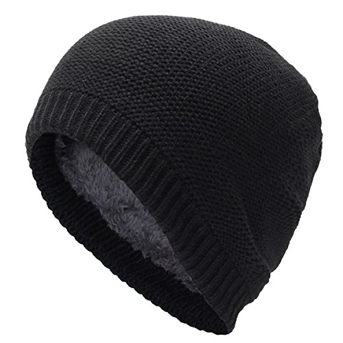 ALLMILL Men's Soft Roll Thick Knit Warm Hat Fall/Winter Skull Caps Slouchy Beanies (Black1) (Thin Skull Cap compare prices)
