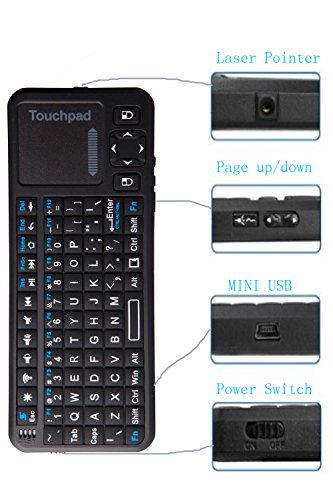 Ipazzport Pro Mini 2.4Ghz Rf Mini Wireless Keyboard Backlit With Multi Touchpad Laser Pointer For Google Android Tv Htpc Pc Windows 8