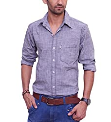 Ballard Men's Casual Shirt (BCS0016_Grey_40)