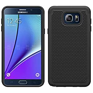 Galaxy Note 5 Back Cover, Case Anti Scratch UV DOT GRAIN Dual Layer Hybrid Shock proof Case Cover with air cushion for Samsung Galaxy Note 5 (Black)