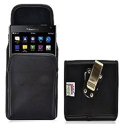 Blackberry Passport Belt Case, Turtleback Vertical Blackberry Passport Holster, Rotating Belt Clip, Black Leather Pouch, Heavy Duty Made in USA