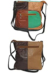 NAZ Women Multi-coloured Leather Sling Bag