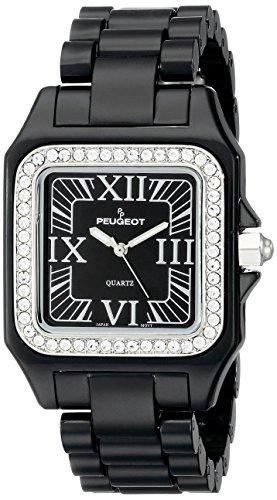 Peugeot Women's 7062BK Swarovski Crystal Bezel Black Acrylic Watch
