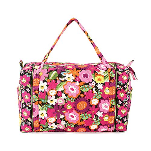 Floral Quilted Cotton Duffle Bag Black (Quilted Duffle Bags Under $20 compare prices)