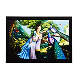eCraftIndia Lady With Peacocks Satin Matt Textured UV Art Painting