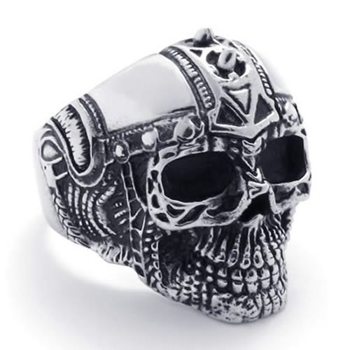 KONOV Jewelry Mens Biker Stainless Steel Skull BIG Heavy Biker Ring - Silver Black (Available in Sizes 9 - 13) - Size 9
