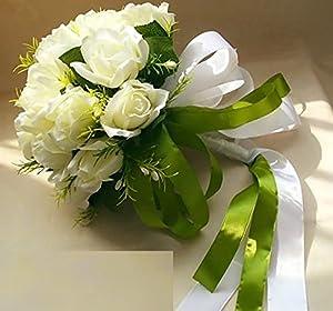 【豪華】 ウェディング ブーケ ブライダル フラワー かわいい 白バラ の造花