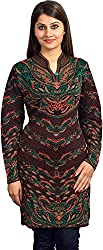 KTC Womens Wool Regular Fit Kurta (703-V70, Coffee, L)