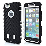 Meaci® Cellphone Case for Iphone 6 Plus 5.5 Inch Case 3in1 Tire Stripe Combo Hybrid Defender High Impact Body Armorbox Hard Pc&silicone Protective Bumper Case (Tire white)
