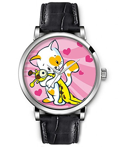 Sprawl Unisex Watches Animal Print Analog Silver Large Face Black Leather Quartz Watch -- Giraffe Holding Cat