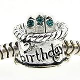 Queenberry Sterling Silver Birthday Cake W/ Blue Zircon Cz Crystal Bead For Pandora Troll Chamilia Biagi European Charm Bracelets Birthstone December
