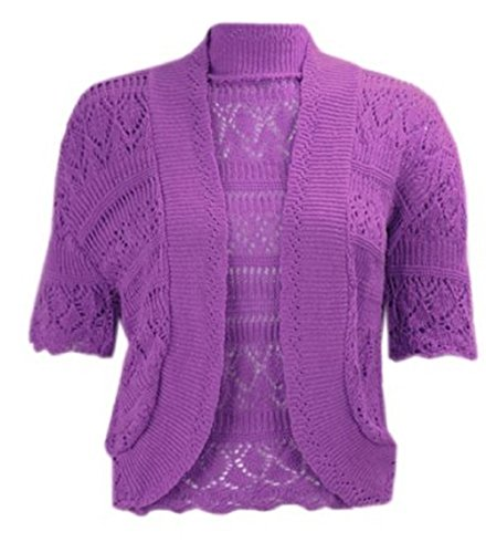 Momo Fashions - Women's Plus Size Crochet Knitted Short Sleeve Cardigan (USA ...
