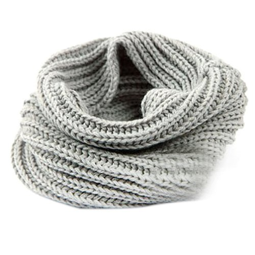 Juanshi Women Warm Infinity One Circle Knit Wool Blend Cowl Loop Scarf Shawl Color Light Gray