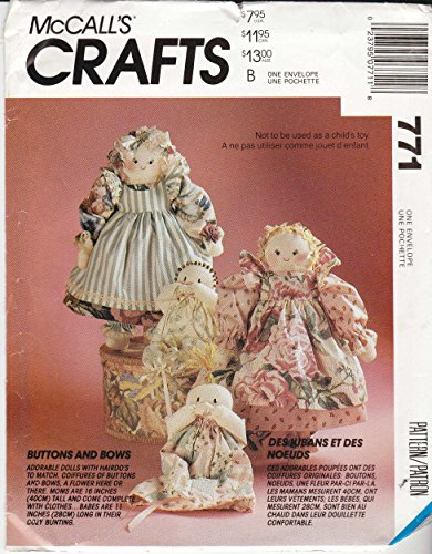Mccall'S Sewing Pattern 771 6099 Buttons And Bows Mother Baby Soft Sculpture Dolls front-942770