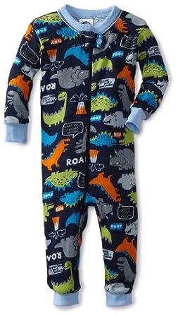 Gerber Baby-Boys Infant 1 Piece Unionsuit Dino Talk Pajama, Navy Blue/Green, 6 Months