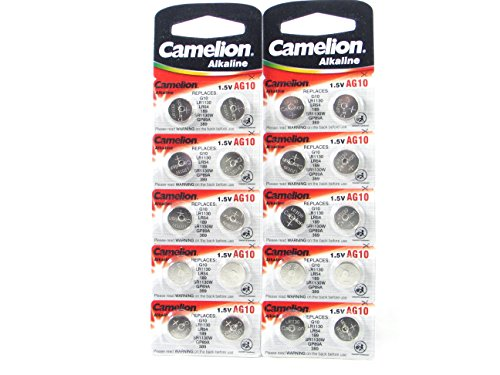 20 Camelion AG10 / LR54 / 189 / 389 / LR1130 pile bouton longue durée de conservation (date d'expiration marqué)