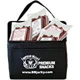 Buffalo Bills Skinny Minnie 6-Pack Gift Cooler (w/ four 1.3-lb bags of beef sticks - 2 hot & 2 mild)