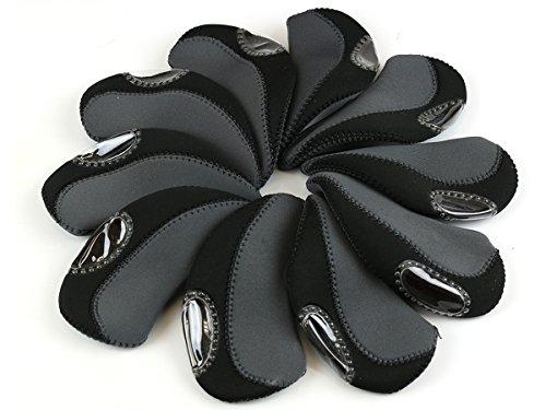 Scorpion Premium Golf Iron Club Head Covers Neoprene, Set of 10, Gary & Black