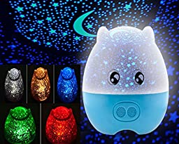 Glovion Novo 3in1 Lovely Pig Shape Baby and Children Star Rotating Projector Night Light with Speaker (Blue)