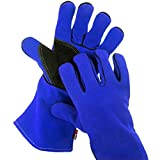 NoCry Heat Resistant and Flame Retardant Welding and BBQ Gloves, Premium Cowhide Leather, 14 inches, Blue