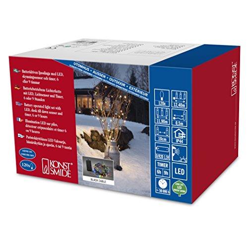 3729-500 LED Lichterkette / für Außen (IP44) / VDE geprüft / Batteriebetrieben: 4xD 1.5V (exkl.) / mit Lichtsensor, 6h und 9h Timer / 120 bunte Dioden / schwarzes Kabel